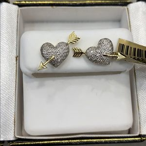 NEW 10K GOLD AND DIAMOND HEART ARROW EARRINGS